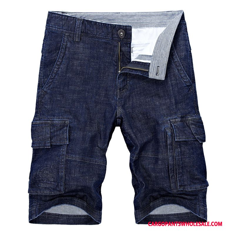 Capri Bukser Herre Mørkeblå Shorts Trend Flere Lommer Ny Mellem