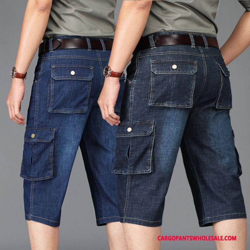 Capri Bukser Herre Mørkeblå Denim Cargo Sommer Flere Lommer Shorts