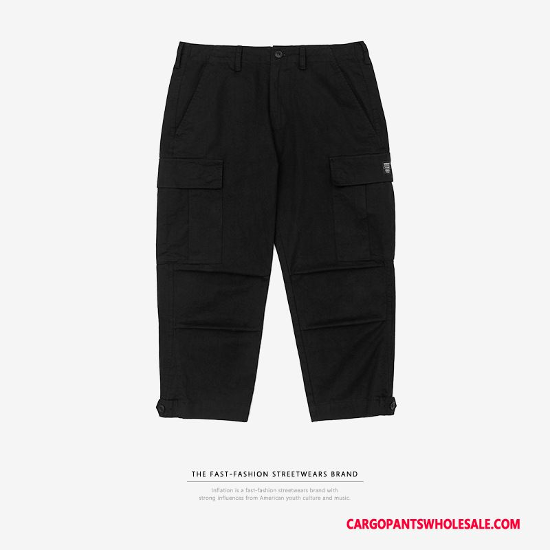 Capri Pants Men Orange Solid Color Spring Tide Brand Crop Casual Pants