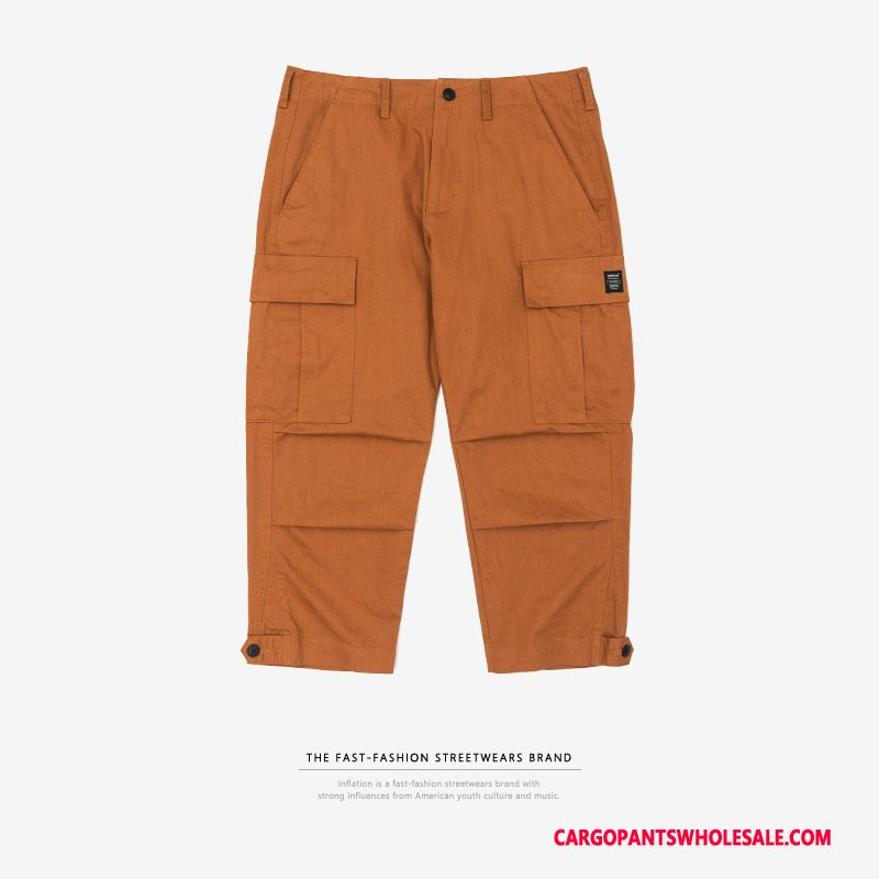 Capri Pants Men Orange Solid Color Spring Tide Brand Crop Casual Pants