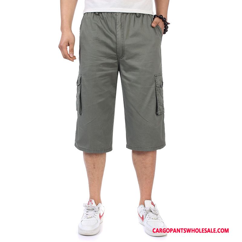 Capri Pants Men Pocket Cargo Pants Fat Man Leisure Summer