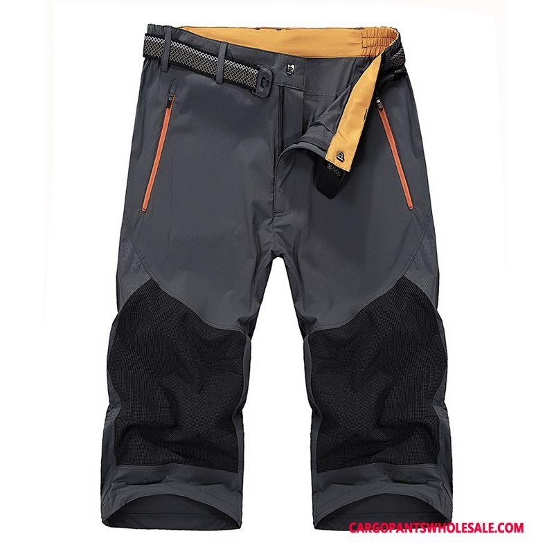 Capri Pants Men Purple Pants Leisure Women Elastic Force Capri Pants Quick Drying