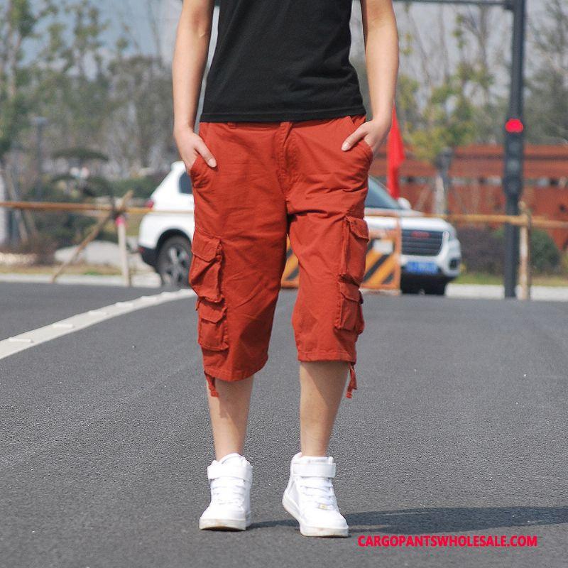 Capri Pants Men Red Multi-pocket High Grade Capri Pants Fashion Shorts