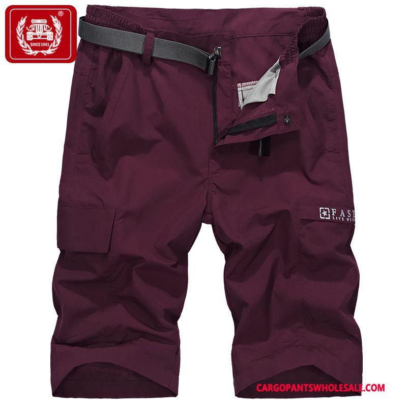 Capri Pants Men Red Multi-pocket Waterproof Loose The New Cargo