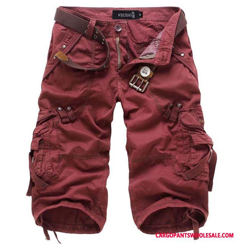 Capri Pants Men Red Shorts Capri Pants Medium Summer Loose