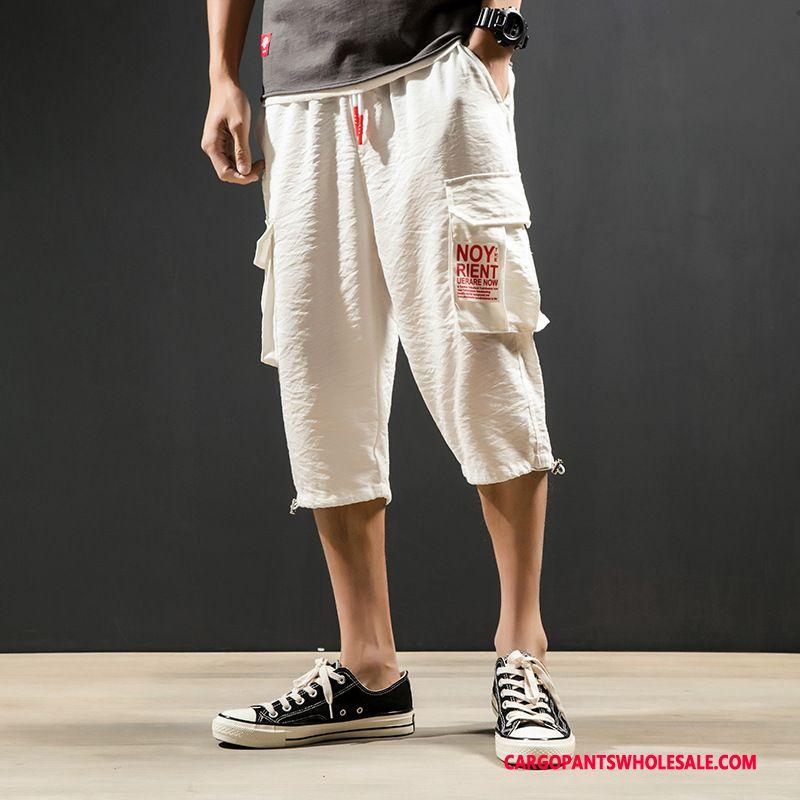 Capri Pants Men White Cargo Pants Harlan Shorts Casual Pants Capri Pants
