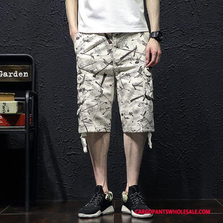 Capri Pants Men White Medium Multi-pocket Large Size Pants Summer