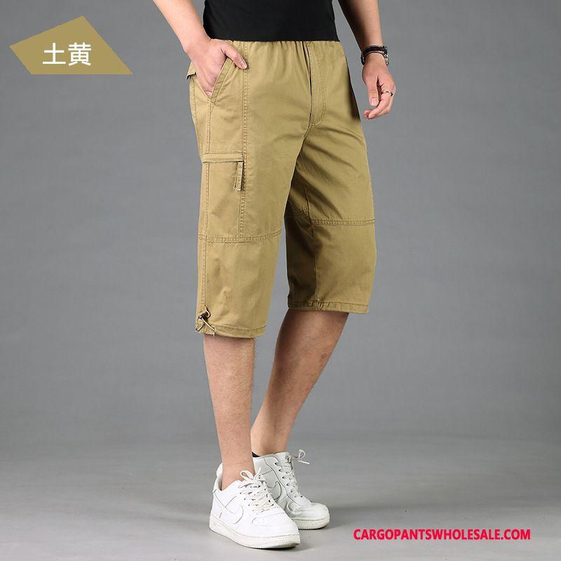 Capri Pants Men Yellow Medium Summer Loose Pants Capri Pants