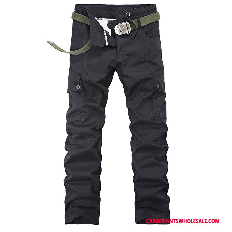 Cargo Pants Male Army Green Black Outdoor Washed Cargo Pants Slim Fit Cotton