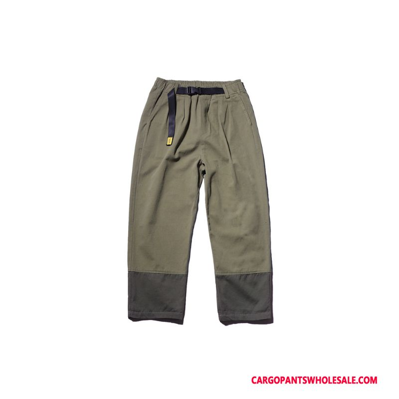 Cargo Pants Male Army Green Retro Color Matching Cargo Pants Loose Tide