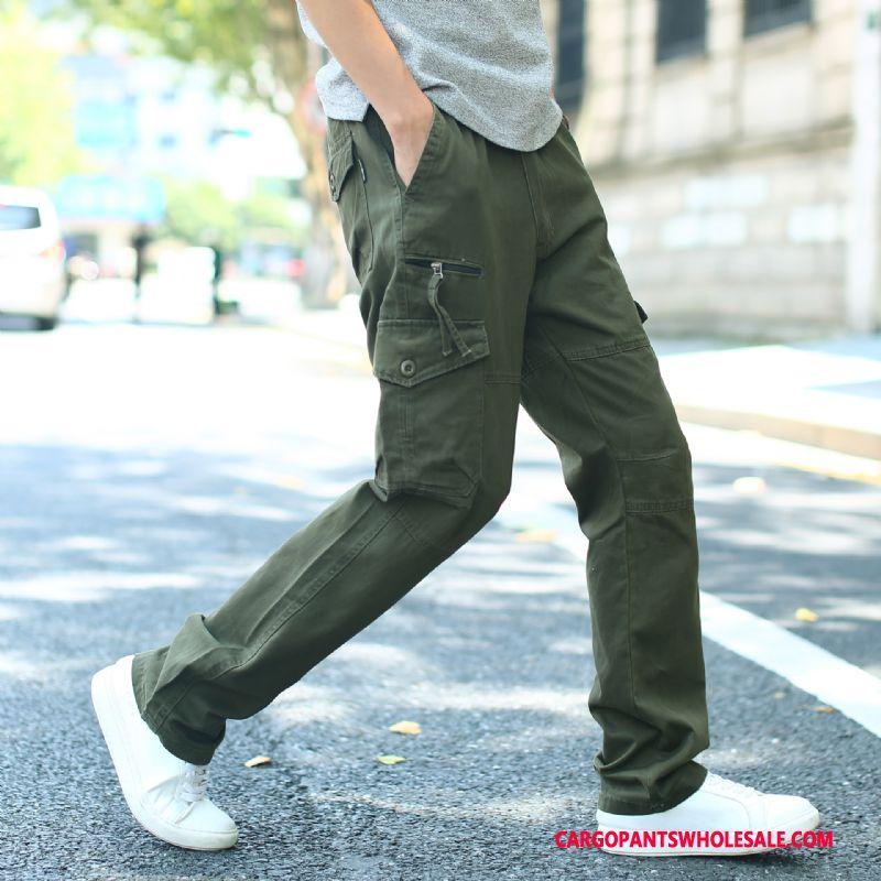 Pantalones Cargo Masculino Ejercito Verde Excursionismo Bolsillos Rectos Cargo Otoño
