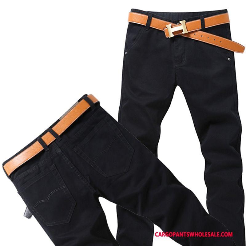 Cargo Pants Male Black Casual Pants Slim Fit Men Cargo Cotton Tide
