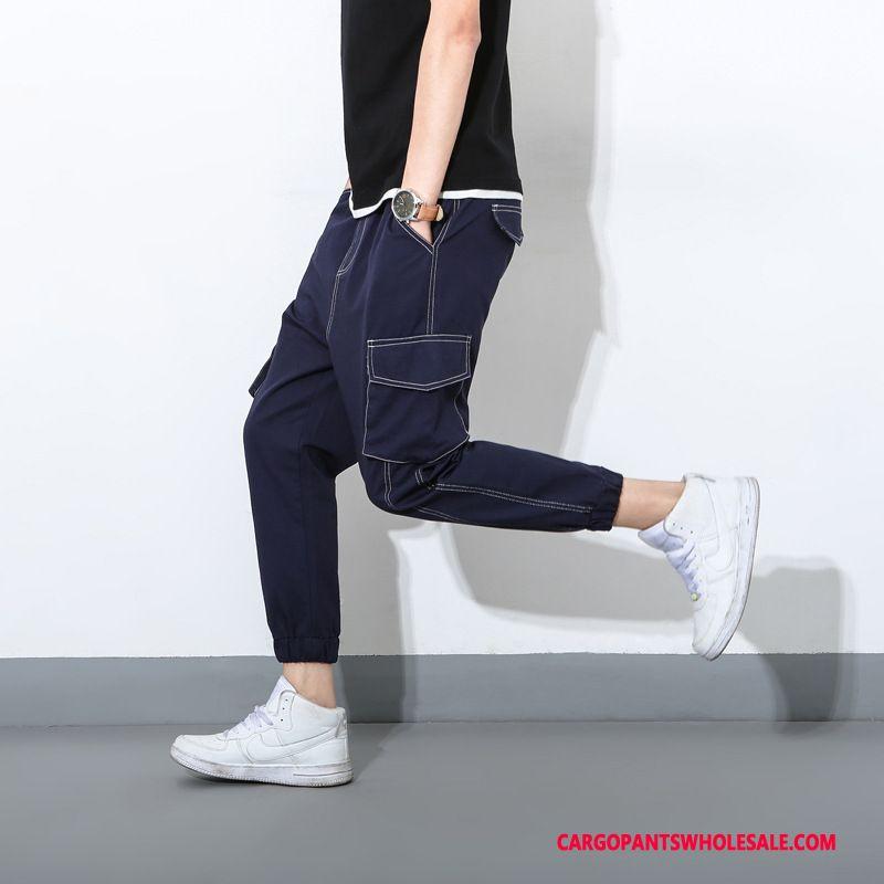 Pantalones Cargo Masculino Negro Verde Apretados Verano Bolsillo Grande Tendencia Slim