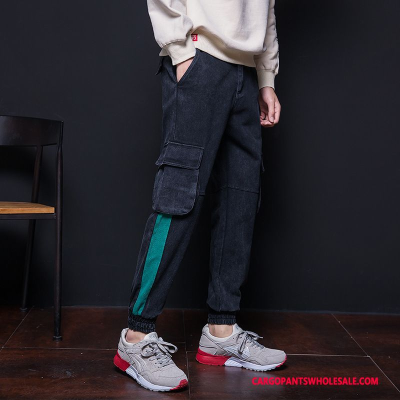 Cargo Pants Male Black Green Casual Pants Trend Men Leisure Multi-pocket Small