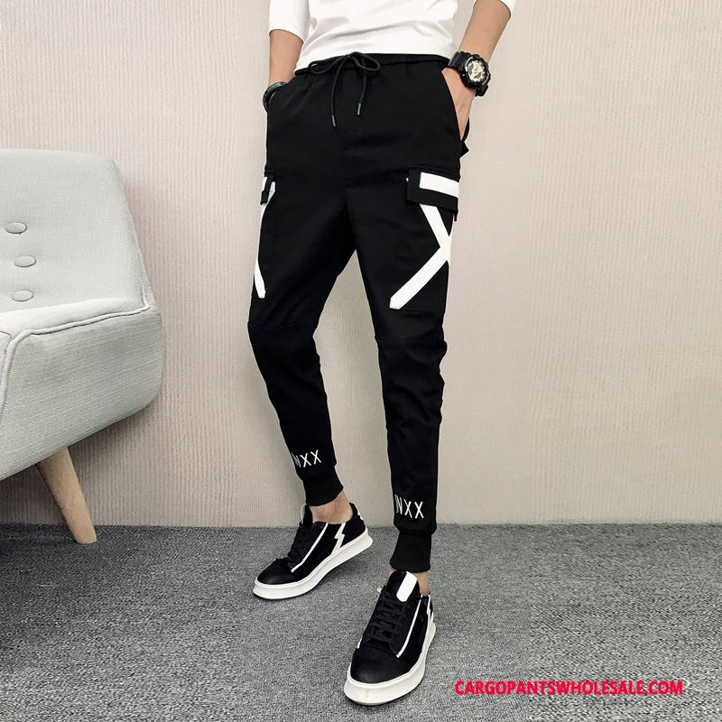 Cargo Pants Male Black Green Slim Fit Winter Clothing Juvenile Casual Pants The New