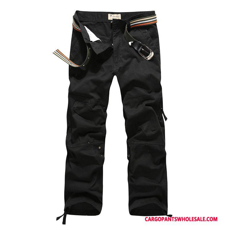 Cargo Pants Male Black Multi-pocket Cotton Autumn Loose Trousers