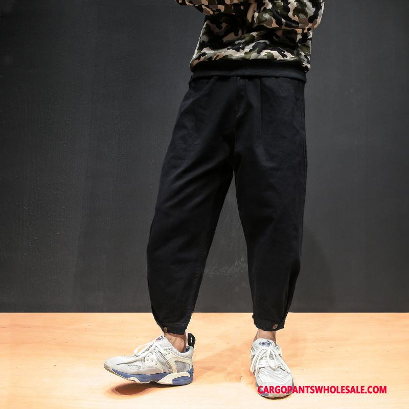 Cargo Pants Male Black Pants Cargo Leisure Embroidery Beam Foot