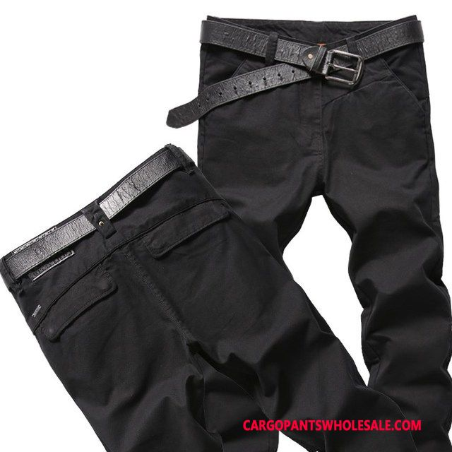 Cargo Pants Male Black Slim Fit Casual Pants Men Trousers Straight Go To Work