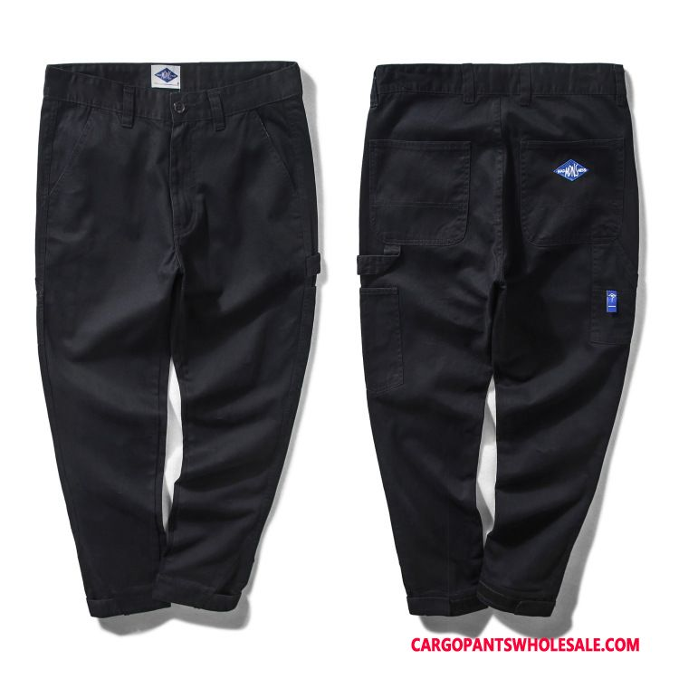 Cargo Pants Male Black Straight Casual Pants Solid Color Cargo Long
