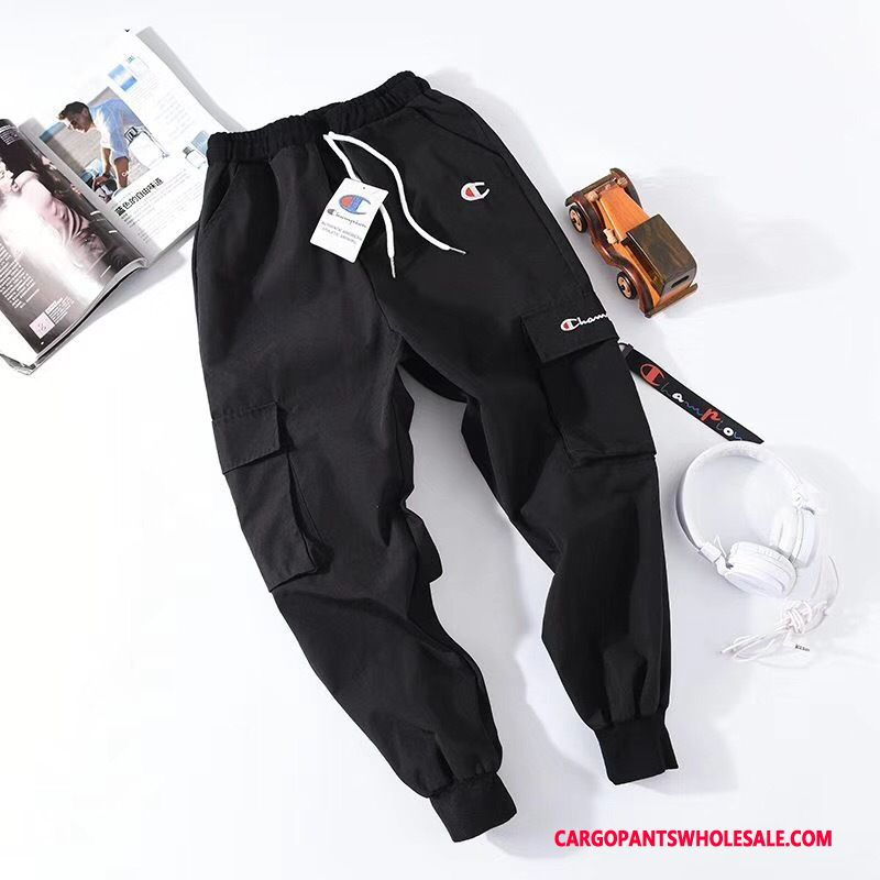 Cargo Pants Male Black Summer Small Cargo Beam Foot Ribbon