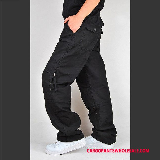 Cargo Pants Male Black The New Leisure Men Zipper Loose Multi-pocket