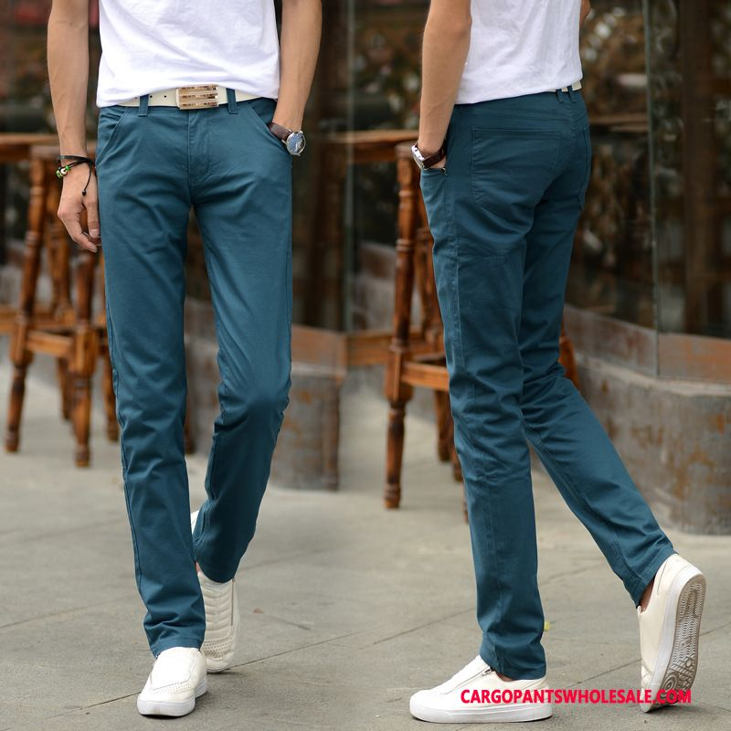 Cargo Pants Male Blue Black Pants Tide Men Slim Fit Thin Section Trousers