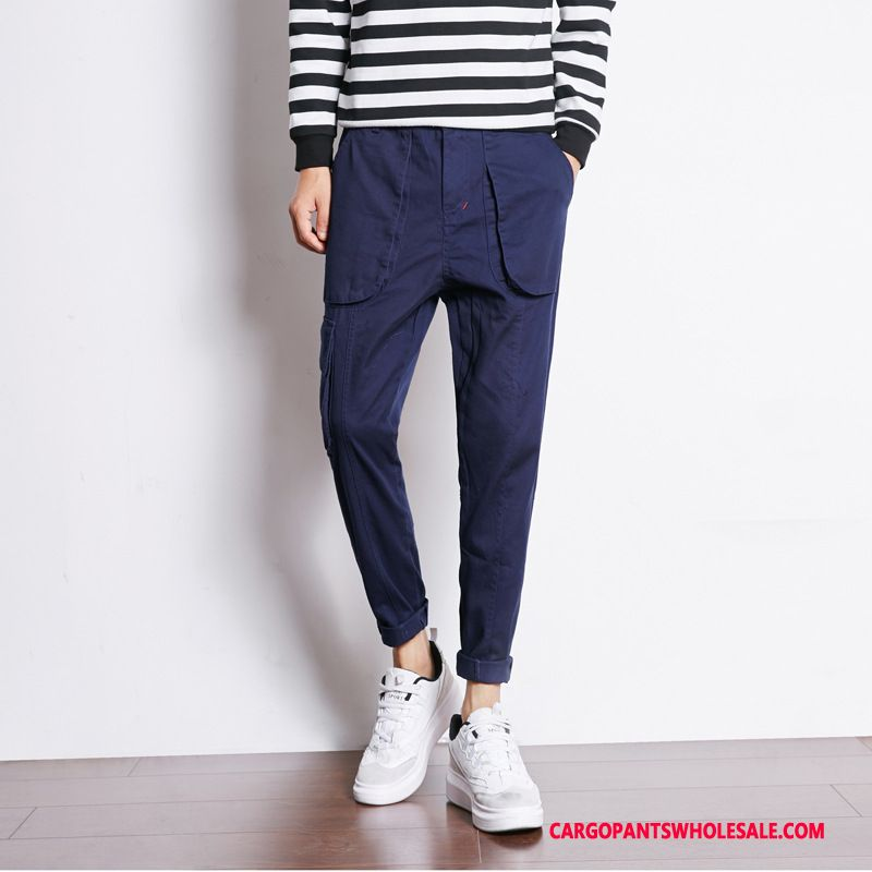 Cargo Pants Male Blue Green Small Winter Men Trousers Autumn Juvenile