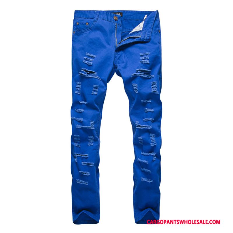 Cargo Pants Male Blue Hole Explosion Men Trousers Spring Cargo
