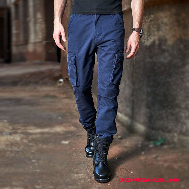 Cargo Pants Male Blue Large Size Europe Men Trousers Cargo Leisure