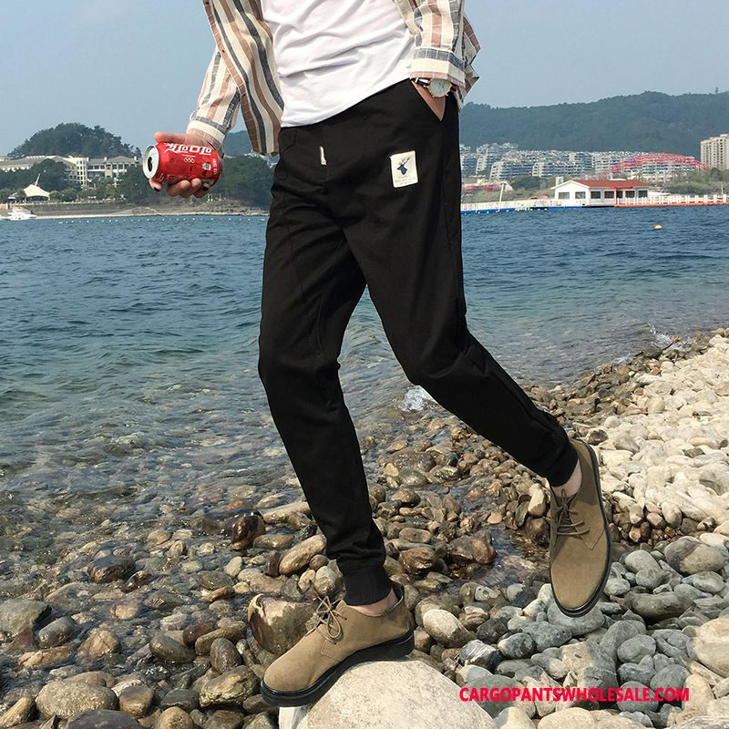 Cargo Pants Male Blue Slim Fit Twill Leisure Beam Foot Trousers
