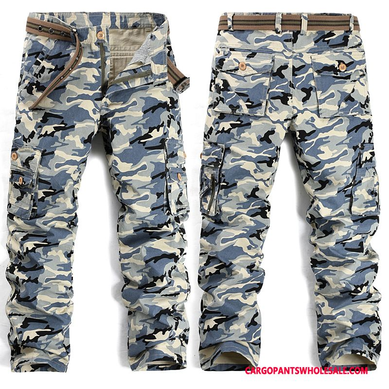 Cargo Pants Male Camouflage Blue Green Casual Pants Cargo Men Slim Fit Tide Cargo Pants