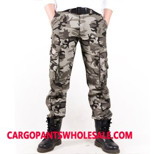 Cargo Pants Male Camouflage Gray Cargo Pants Multi-pocket Explosion Europe Straight