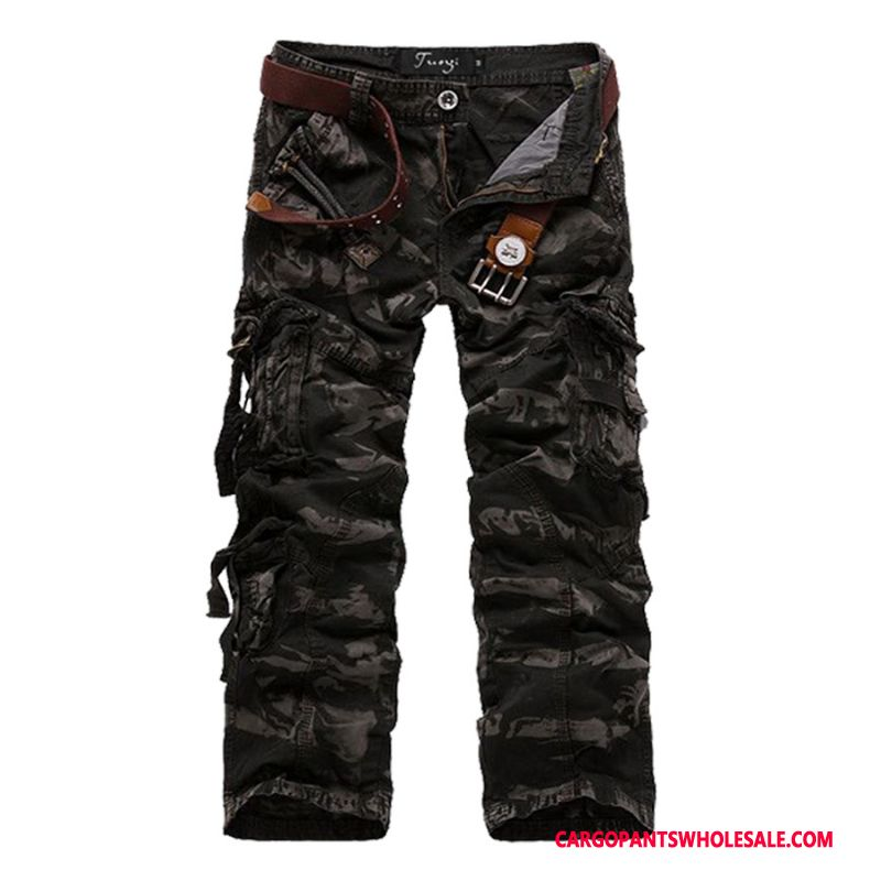 Cargo Pants Male Camouflage Gray Fashion Cotton Trousers Straight Military