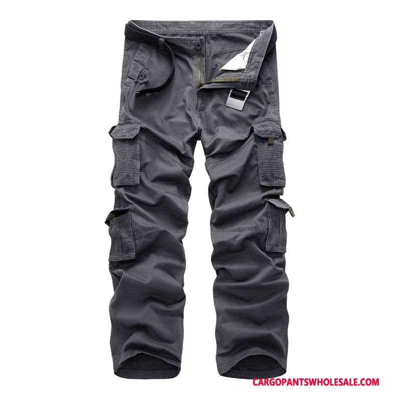 Cargo Pants Male Camouflage Gray Trousers Multi-pocket Large Size Cotton Leisure