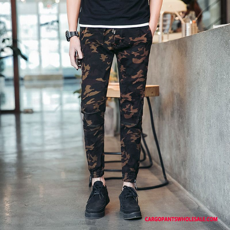 Cargo Pants Male Camouflage Green Small Elastic Force Men Cargo Tide Elastic