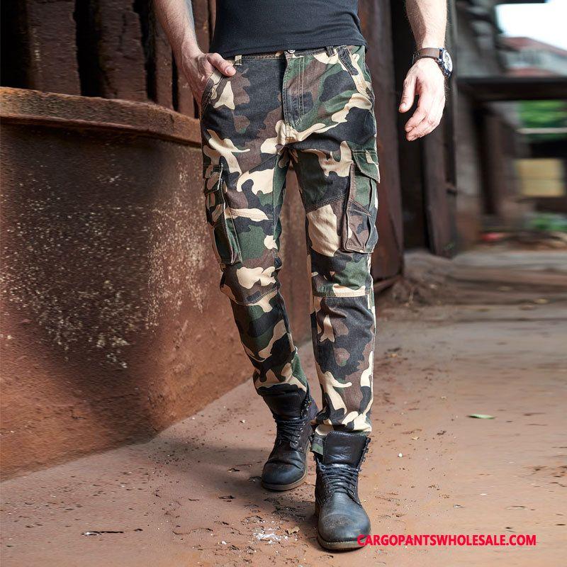 Cargo Bukser Mænd Camouflage Khaki Vintage Ny Mode Lige Efterår