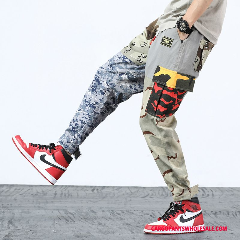 Cargo Pants Male Camouflage Khaki Elastic Trousers Men Casual Pants Cargo Cotton And Linen