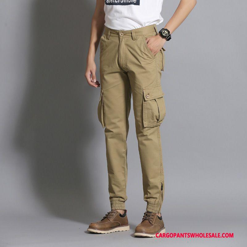 Cargo Pants Male Camouflage Khaki Green Multi-pocket Small Men Tide Trousers Slim Fit