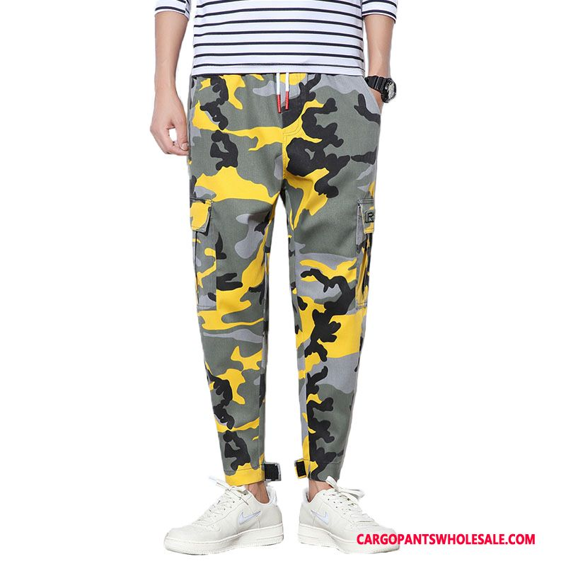 Cargo Pants Male Camouflage Yellow Green Pants Spring Autumn Small Fashion