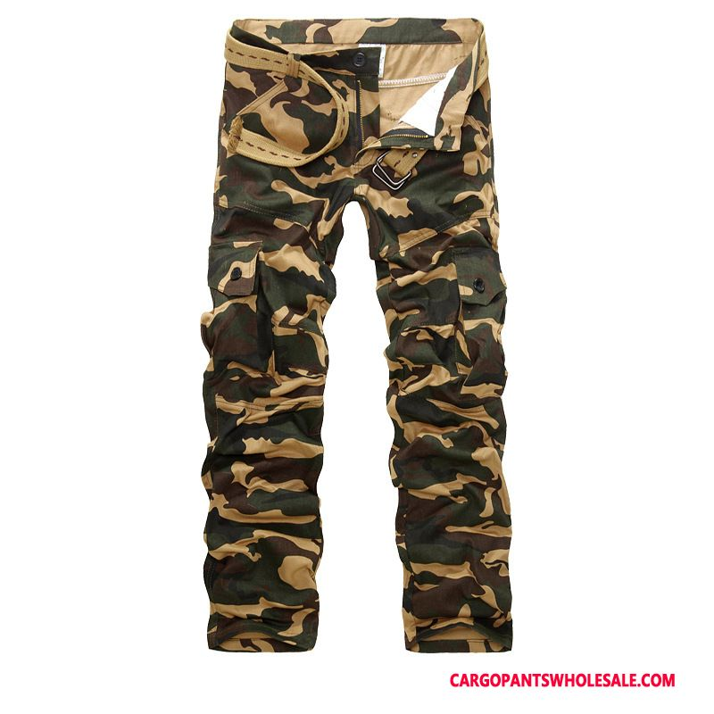 Cargo Pants Male Camouflage Yellow Straight Multi-pocket Trousers Cargo Pants Large Size