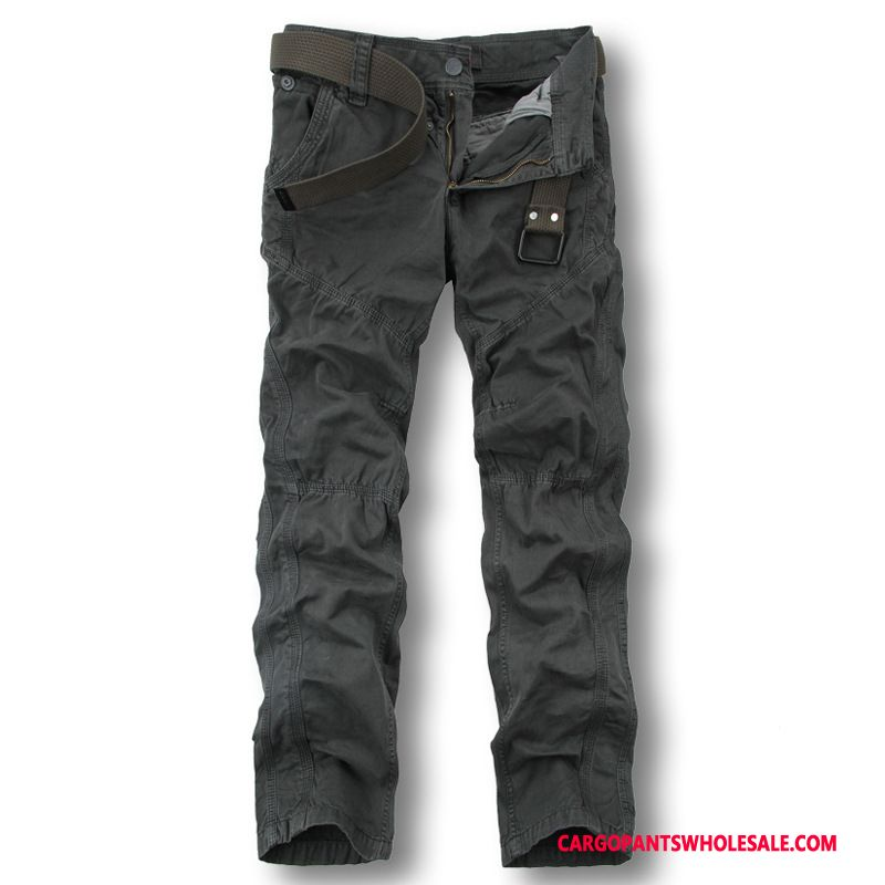 Cargo Pants Male Deep Gray Multi-pocket Trousers Straight Pants Large Size
