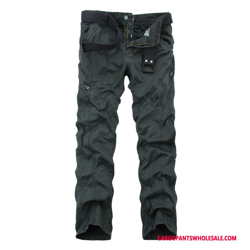 Cargo Pants Male Deep Gray Outdoor Cargo Pants Men Straight Cotton Trousers