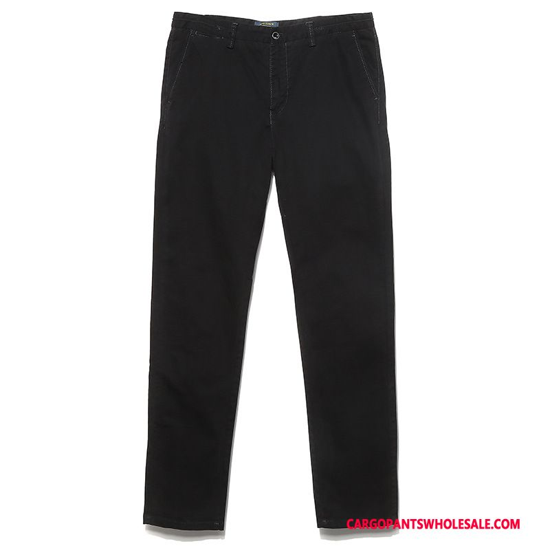 Cargo Pants Male Deep Gray Slim Fit Cotton Straight Trousers Cargo Pants