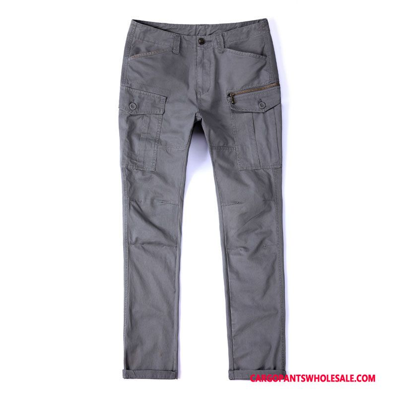 Cargo Pants Male Gray Cotton Pants Cargo Washed Hiking