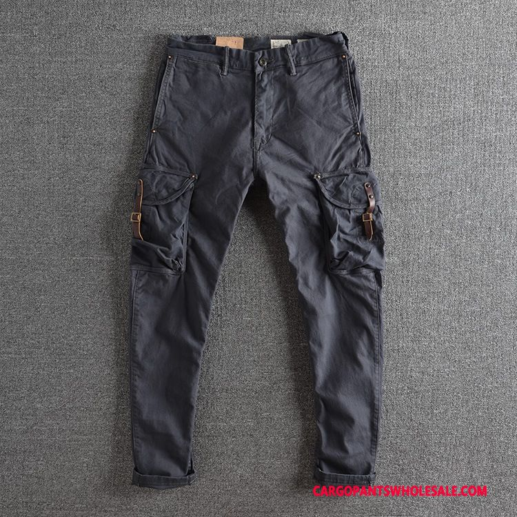Cargo Pants Male Gray Elastic Force Winter Trousers Woven Leisure