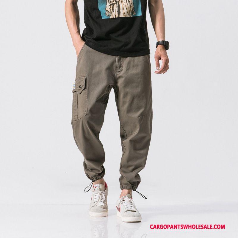 Cargo Pants Male Gray Retro Loose Pocket Autumn Pants