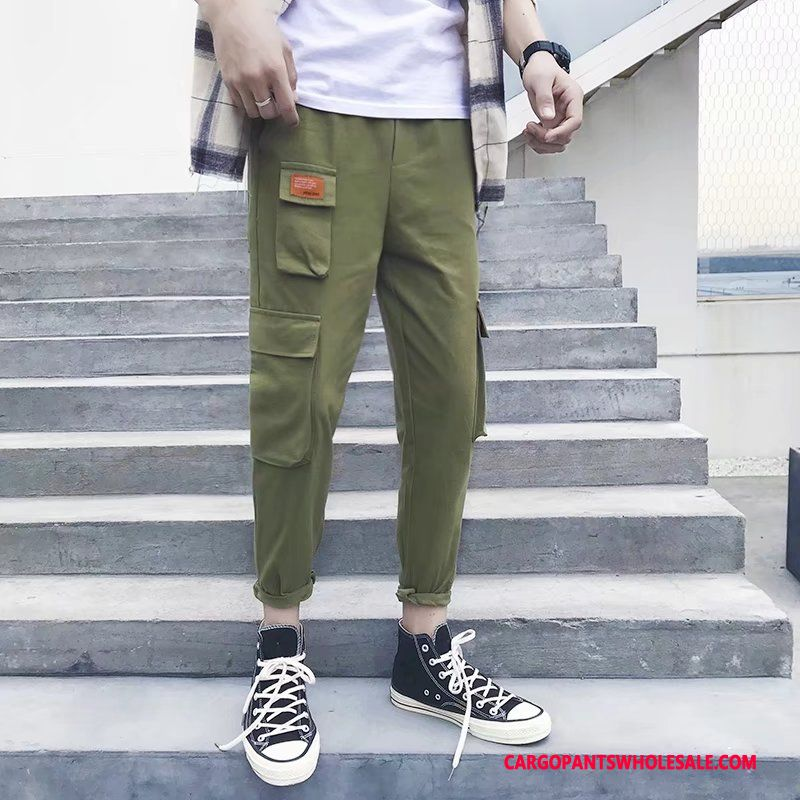 Cargo Pants Male Green Casual Pants Original Men Men Cargo Multi-pocket Solid Color