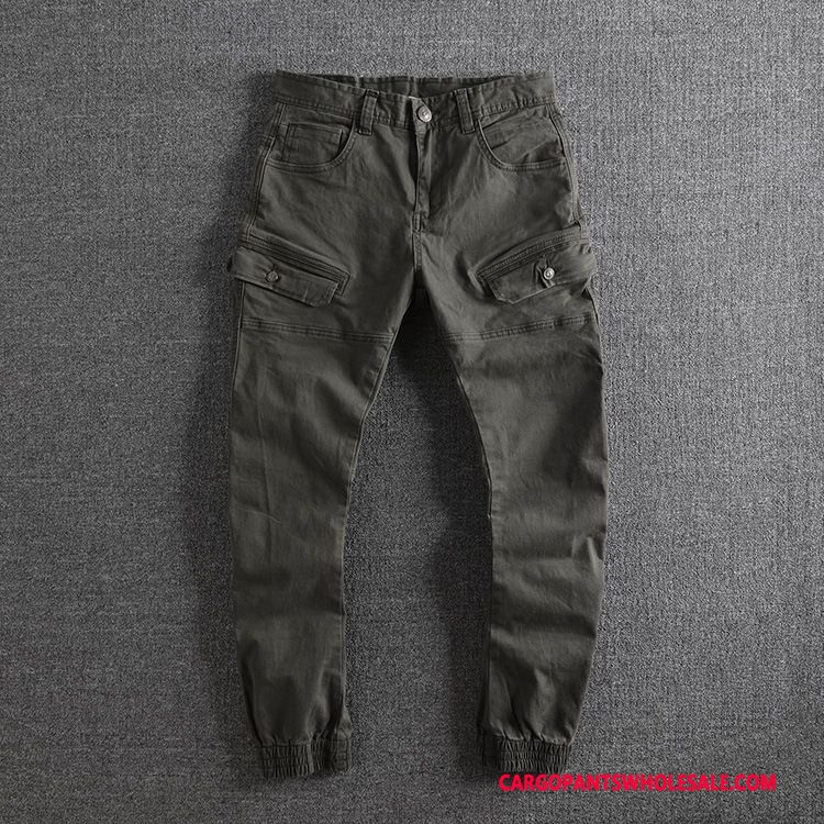 Cargo Pants Male Green Gray Small Slim Fit Casual Pants Washed Distressed