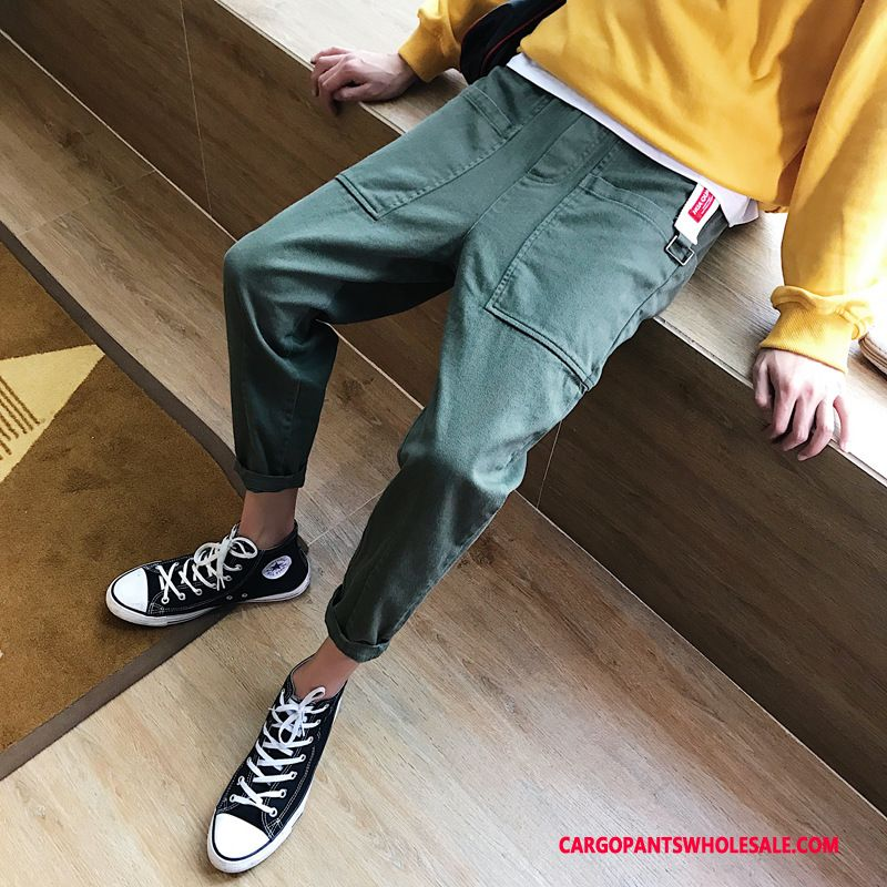 Cargo Pants Male Green Green Big Pocket Simple Spring The New Solid Color