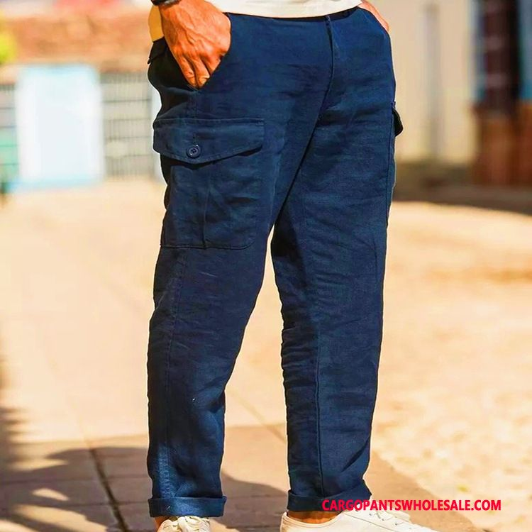Cargo Pants Male Green Pants Fashion Thin Section Summer Slim Fit